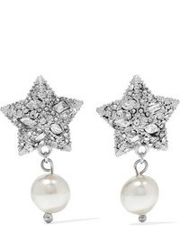 Miu Miu Silver Plated Crystal And Faux Pearl Earrings