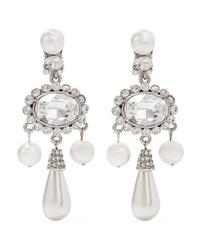 Oscar de la Renta Silver Plated Faux Pearl And Swarovski Crystal Clip Earrings