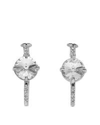 Miu Miu Silver Small Crystal Hoop Earrings