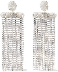 Oscar de la Renta Silver Tone Bead And Crystal Clip Earrings