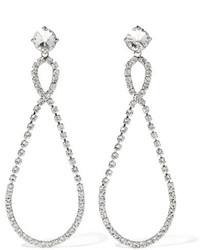 Miu Miu Silver Tone Crystal Clip Earrings