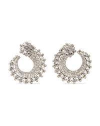 Oscar de la Renta Silver Tone Crystal Earrings