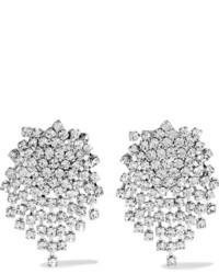 Kenneth Jay Lane Silver Tone Crystal Earrings One Size