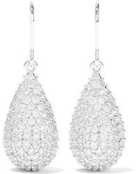 Kenneth Jay Lane Silver Tone Cubic Zirconia Earrings