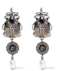 Alexander McQueen Silver Tone Multi Stone Earrings