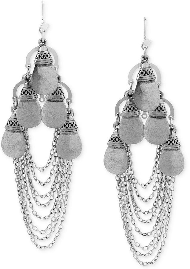 Steve Madden Silver Tone Teardrop Multi Chain Chandelier Earrings