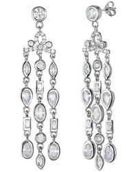 Sophie Miller Cubic Zirconia Sterling Silver Chandelier Earrings
