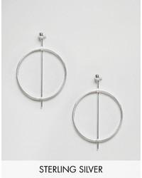 Asos Sterling Silver Circle Bar Earrings