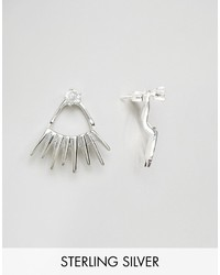 Asos Sterling Silver Crystal Spike Swing Earrings