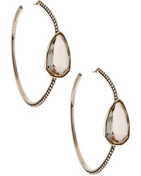 Stephen Dweck Sterling Silver Rock Crystal Hoop Earrings