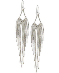Steve Madden Silver Tone Crystal And Chain Chandelier Earrings