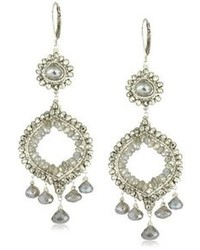 Dana Kellin Stunning Double Drop Silver Pyrite And Labradorite Chandelier Earrings