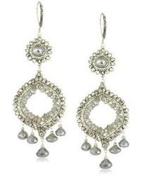 Dana Kellin Stunning Double Drop Silver Pyrite And Labradorite Chandelier Earrings