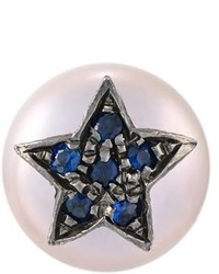 Carolina Bucci Superstellar Pearl And Sapphire Stud Earring