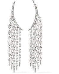Oscar de la Renta Tendril Silver Tone Crystal Earrings