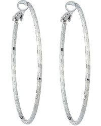 Lydell NYC Textured Hoop Earrings Silver