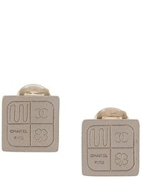 Chanel Vintage Square Clip On Earrings