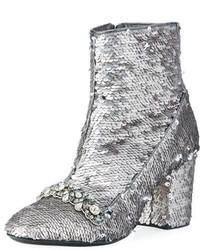 No.21 No 21 Sequin Embellished Zip Bootie Silver