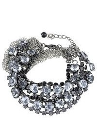 Alilang gun metal silver tone blk smoked clear crystal rhinestone twisted chain bracelet medium 70938