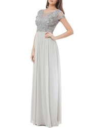 Silver Embellished Chiffon Evening Dress