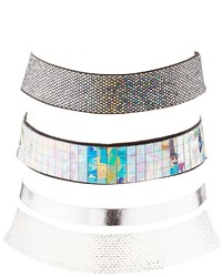 Charlotte Russe Holographic Woven Choker Necklaces 3 Pack
