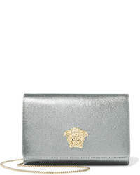 Versace Palazzo Embellished Metallic Leather Shoulder Bag Silver