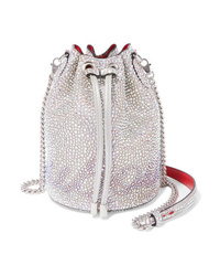 Christian Louboutin Marie Jane Crystal Embellished Suede And Leather Bucket Bag