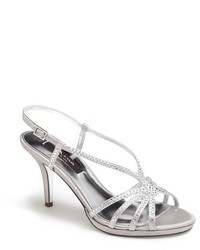 Silver Embellished Leather Heeled Sandals