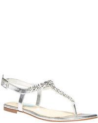 Betsey Johnson Spark Embellished Satin Thong Sandals