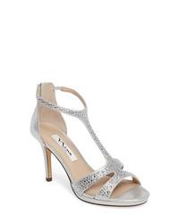 Sandals Heeled Leather WomenWomen's For Silver Embellished VpqSUzMGL