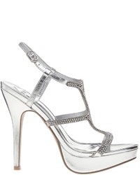 Faith Larkings Embellished Silver Heeled Sandals Silver