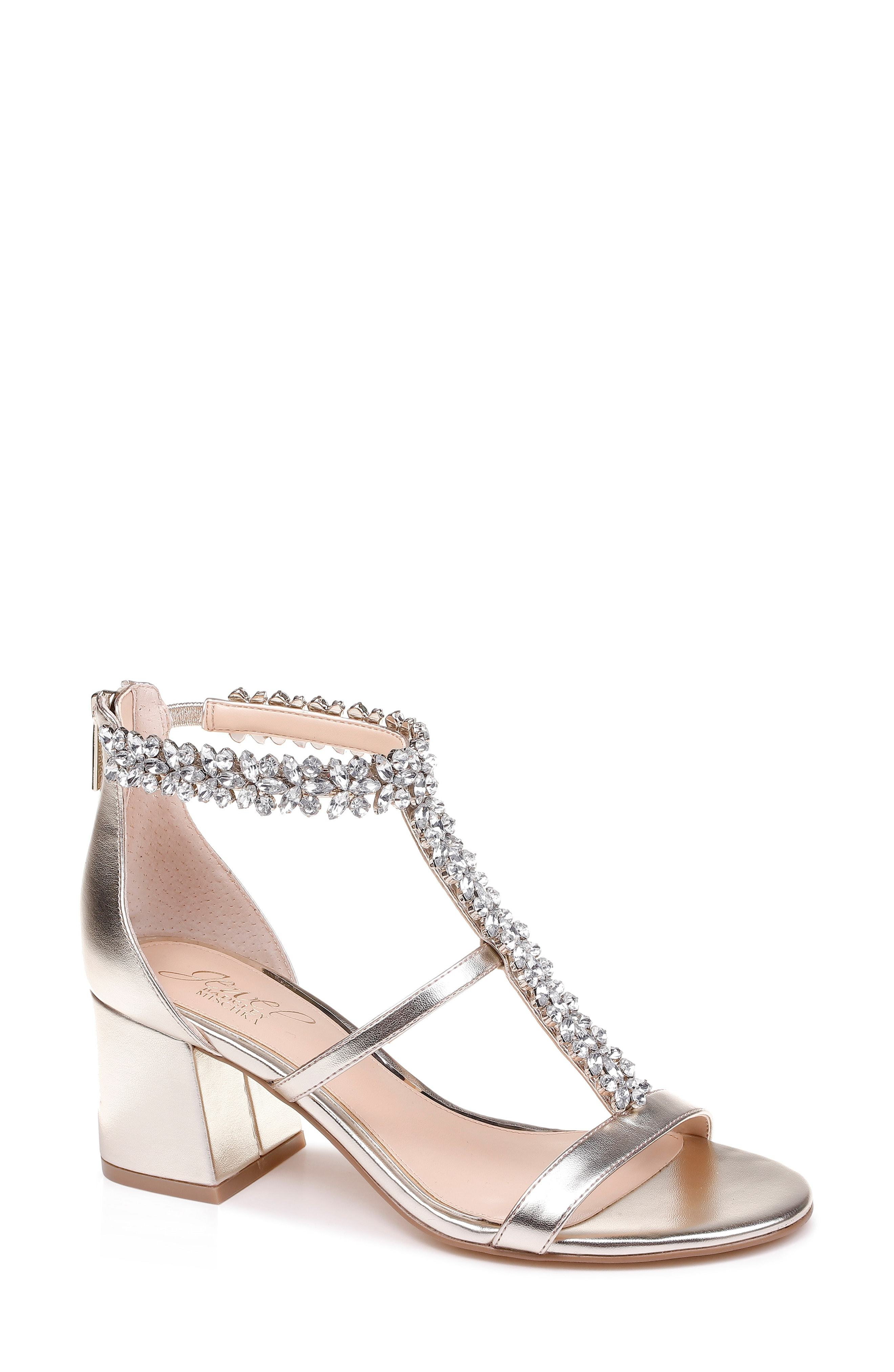 48cbe2d817a Janica Block Heel Sandal. Silver Embellished Leather Heeled Sandals by JEWEL  BADGLEY MISCHKA