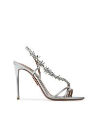 Aquazzura Silver Chateau Embellished 110 Sandals