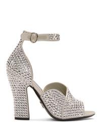 Prada Silver Crystal Embellished Py Heeled Sandals