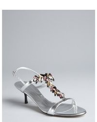Giuseppe Zanotti Silver Patent Leather Embellished T Strap Sandals