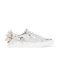 Marc Jacobs Daisy Appliqud Metallic Leather Sneakers