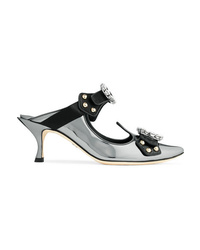 Dolce & Gabbana Cutout Embellished Mirrored Leather Mules