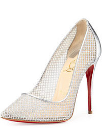 Christian Louboutin Follies Resille Glitter Fishnet Pump Silver