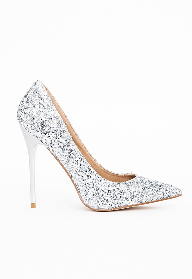 ... Missguided Selena Pointed Toe Court Shoes Silver Glitter ...