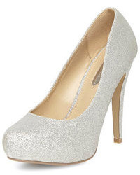Dorothy Perkins Silver Glitter Platform Court Shoes