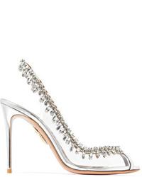Aquazzura Temptation Patent Leather Trimmed Pvc Slingback Sandals Silver