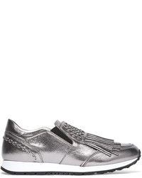 Tod's Embellished Fringed Metallic Leather Slip On Sneakers Silver
