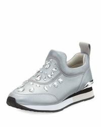Tory Burch Laney Embellished Slip On Sneaker Silver
