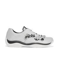 Prada Crystal Embellished Mesh Sneakers