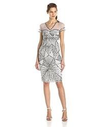 8547ec675c ... JS Collections Js Collection V Neck Cap Sleeve Mesh And Embellished Cocktail  Dress