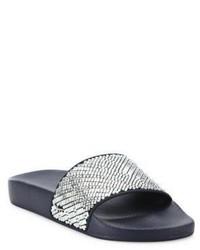 Salvatore Ferragamo Groove Crystal Embellished Rubber Slides