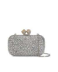 Silver Embellished Satin Clutch
