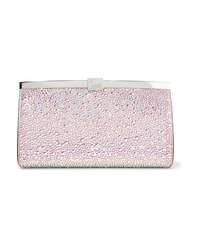 Christian Louboutin Palmette Crystal Embellished Satin Clutch