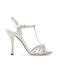 Dolce & Gabbana Keira Crystal Embellished Satin Sandals
