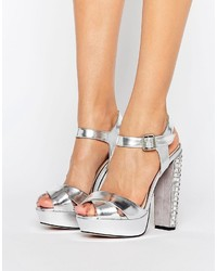 Little Mistress Silver Satin Rhinestone Embellished Heeled Sandal